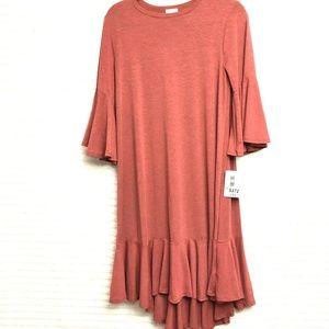 LuLaRoe Heathered Red Maurine Dress Ruffle